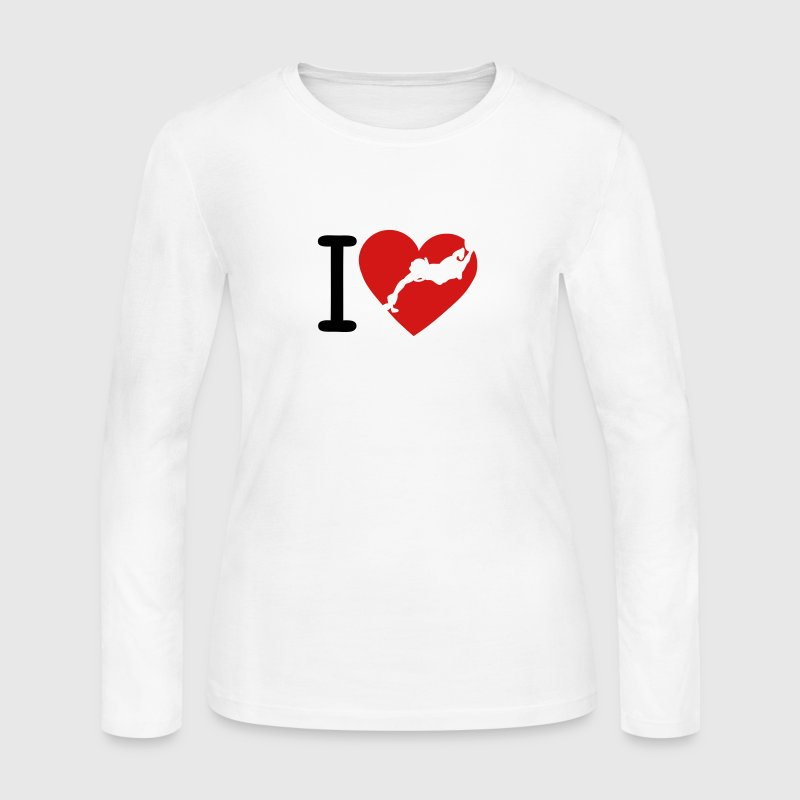 love underwater hockey coeur2 - Women's Long Sleeve Jersey T-Shirt