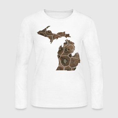 Michigan Petoskey Stone Cute Funny Pure Apparel  - Women's Long Sleeve Jersey T-Shirt