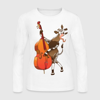 Cool Okapi Playing Double Bass - Women's Long Sleeve Jersey T-Shirt