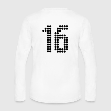 Jersey Number 16, Numbers, Football Numbers, Jersey Numbers - Women's Long Sleeve Jersey T-Shirt