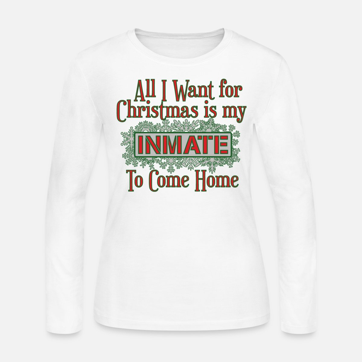 All I Want For Christmas - Red/Green Women\'s Long Sleeve Jersey T-Shirt - white
