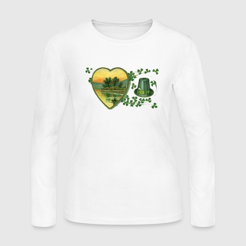 Vintage Ireland Postcard Hearts - Women's Long Sleeve Jersey T-Shirt