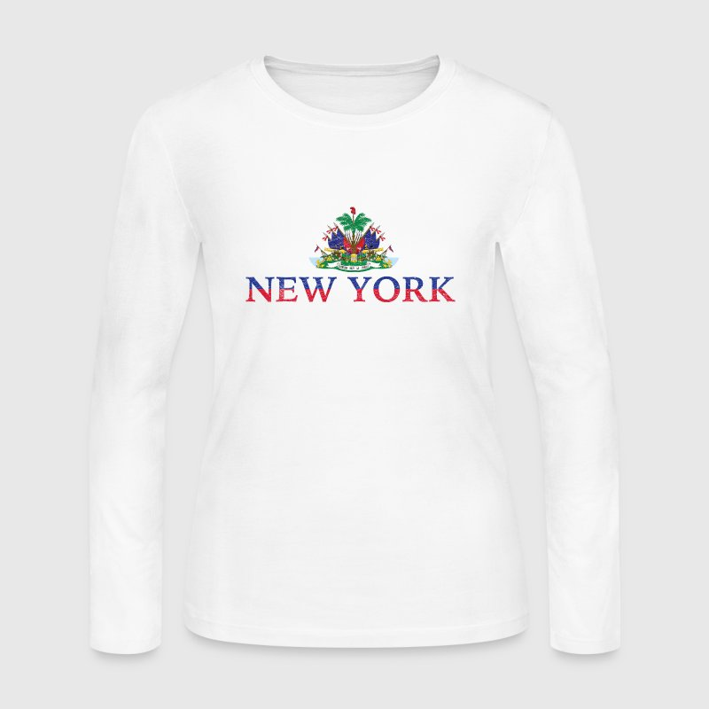 New York Haiti Flag Haitian Pride - Women's Long Sleeve Jersey T-Shirt
