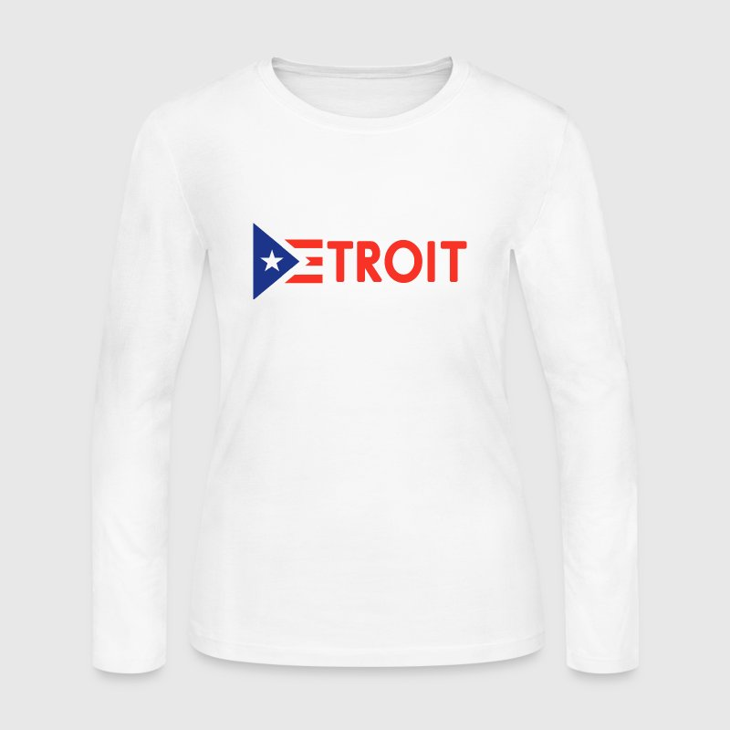 Detroit Puerto Rico Rican Flag - Women's Long Sleeve Jersey T-Shirt