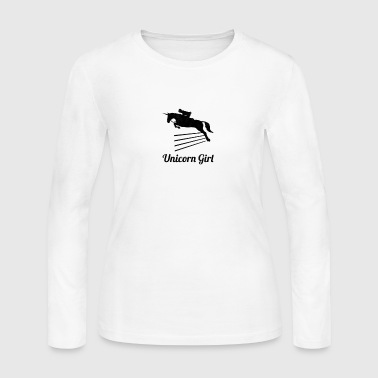 Unicorn Girl Show Jumping - Women's Long Sleeve Jersey T-Shirt