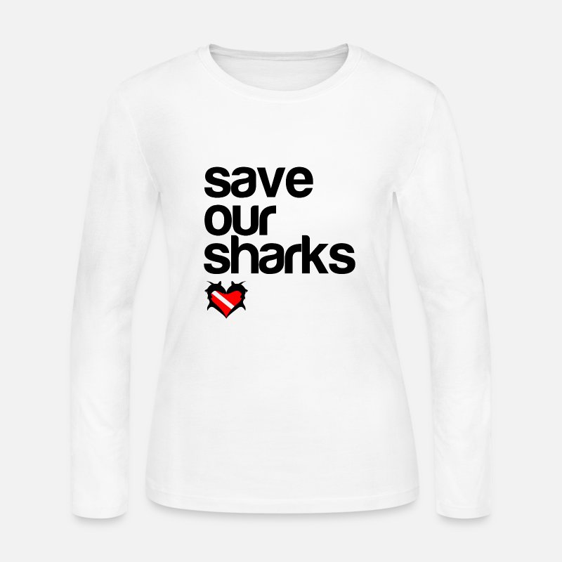 Scuba Long sleeve shirts - Save Our Sharks - Women's Jersey Longsleeve Shirt white