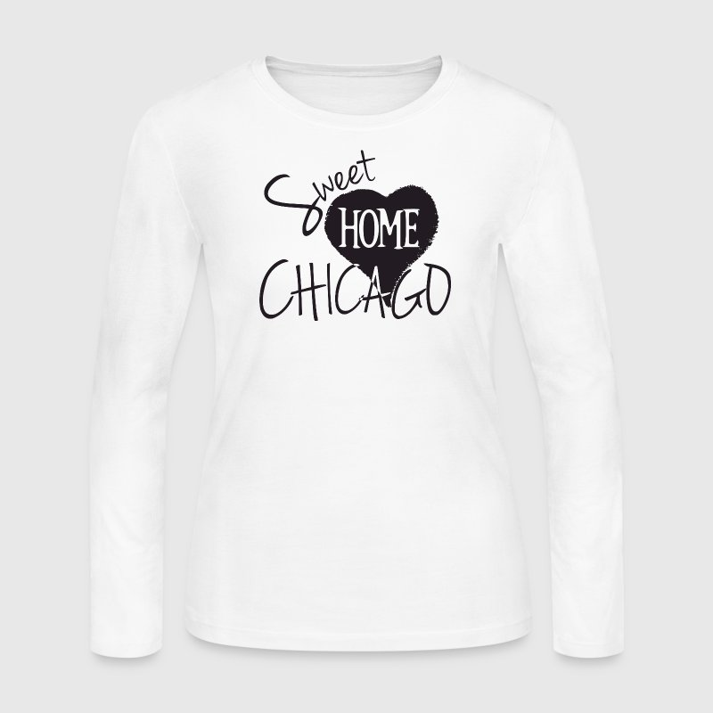 Sweet Home Chicago Heart Love Cute Shirt - Women's Long Sleeve Jersey T-Shirt