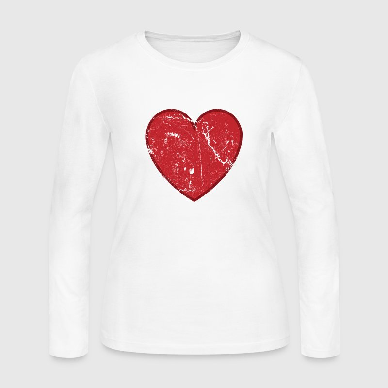 Cool Valentine Vintage Heart - Women's Long Sleeve Jersey T-Shirt