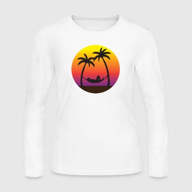 Beach Hammock Sunset Vacation  - Women's Long Sleeve Jersey T-Shirt