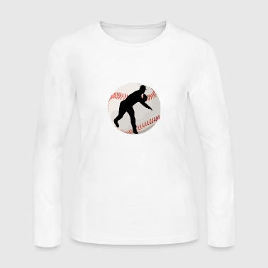 Pitcher Baseball Pitcher Silhouette - Women's Long Sleeve Jersey T-Shirt