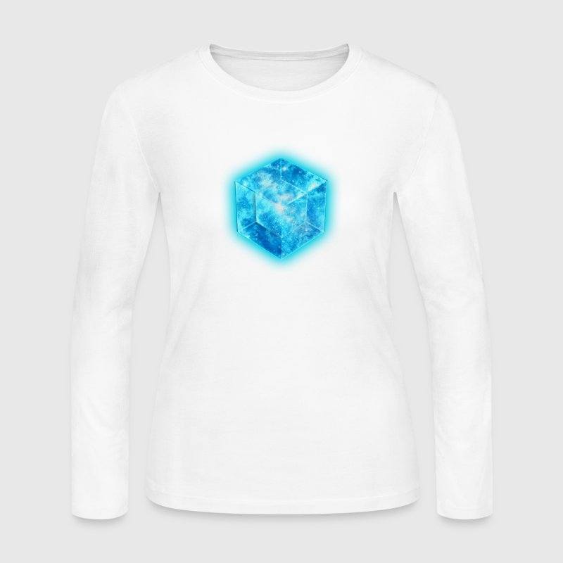 Hypercube 4D - TESSERACT , digital, Symbol - Dimensional Shift, Metatrons Cube,  - Women's Long Sleeve Jersey T-Shirt