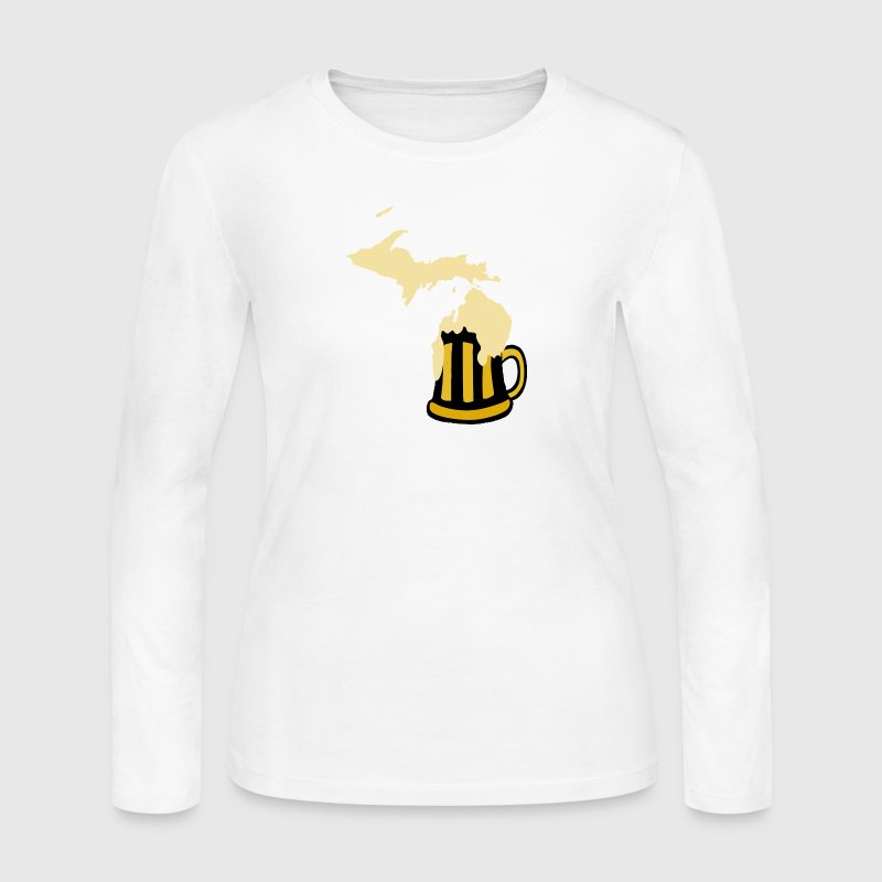 The Great MIchigan Beer State Mug - Women's Long Sleeve Jersey T-Shirt