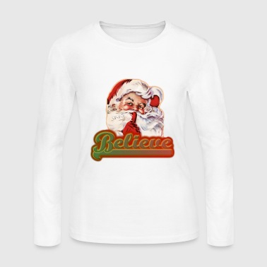 Fun Whimsical Santa Claus Believe Christmas - Women's Long Sleeve Jersey T-Shirt