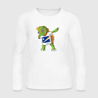 Marshall Islands Dabbing Turtle - Women's Long Sleeve Jersey T-Shirt