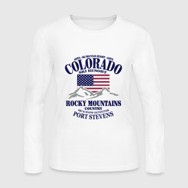 Aspen - Colorado Ski Resort - USA Flag - Women's Long Sleeve Jersey T-Shirt