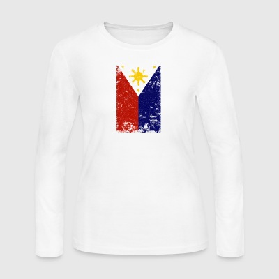Filipino Vintage Distressed Philippines Flag - Women's Long Sleeve Jersey T-Shirt