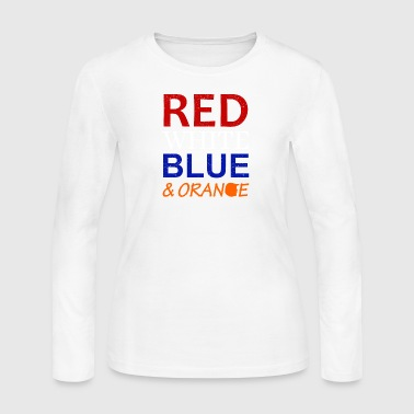 Red White Blue and Orange - Women's Long Sleeve Jersey T-Shirt