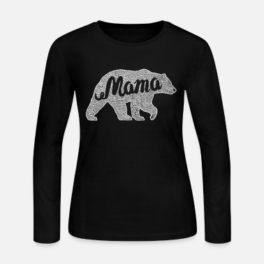 Mama Bear Mama Cute Bear Family Matching Outfit - Women's Long Sleeve Jersey T-Shirt