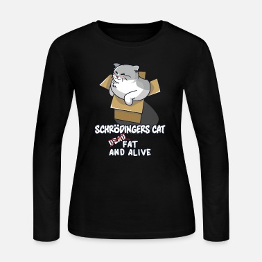 Cardboard Schrödinger's fat cat in cardboard box - Women's Long Sleeve Jersey T-Shirt