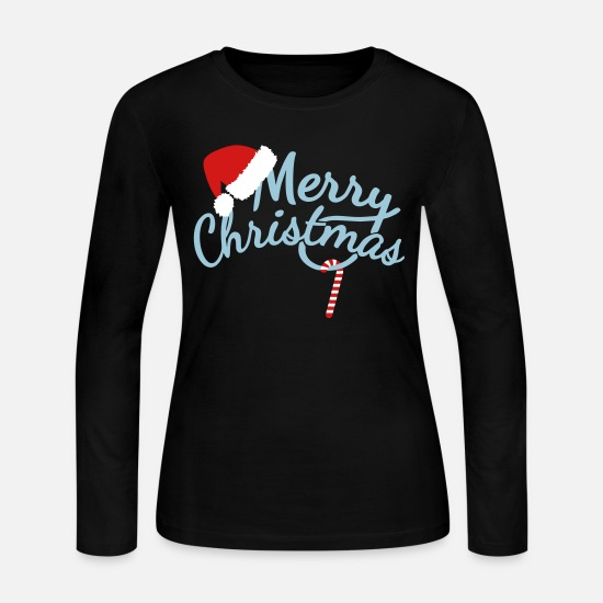 Christmas Long-Sleeve Shirts - Merry Christmas - Women's Jersey Longsleeve Shirt black