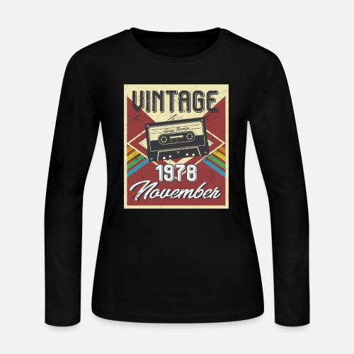 Womens Jersey Longsleeve Shirt40th Birthday Gifts Retro Vintage November 1978
