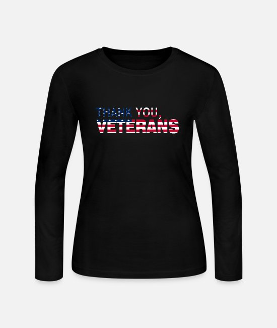 Veterans Long-Sleeved Shirts - Thank You Veterans USA flag - Women's Jersey Longsleeve Shirt black