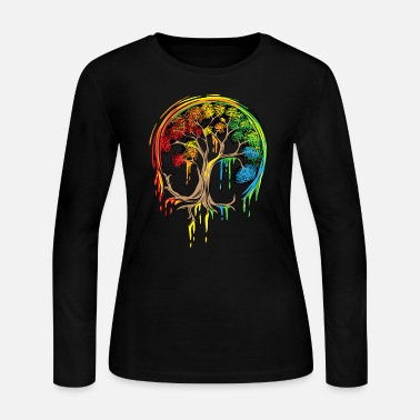Colorful Tree Life is really good Tree Art Shirt - Women's Jersey Longsleeve Shirt