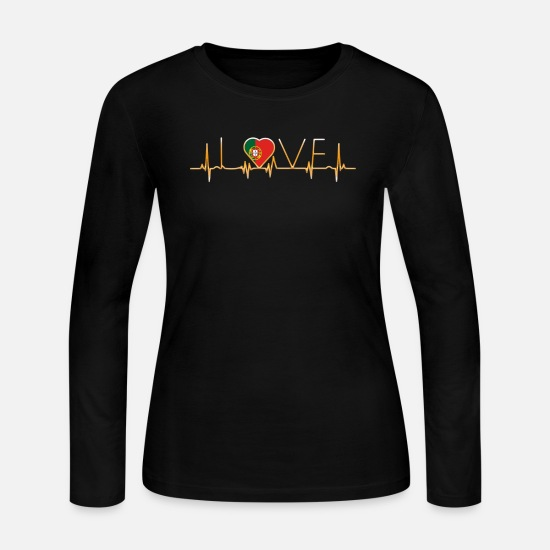 Love Long-Sleeve Shirts - home roots heimat love heart from PORTUGAL portuge - Women's Jersey Longsleeve Shirt black