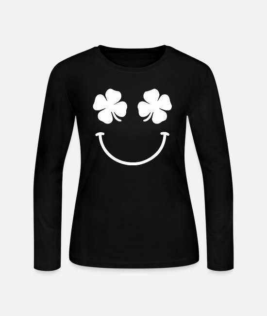 St Long-Sleeved Shirts - St. Patrick's day Smile - Women's Jersey Longsleeve Shirt black