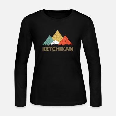 Souvenir Retro City of Ketchikan Mountain Shirt - Women's Long Sleeve Jersey T-Shirt