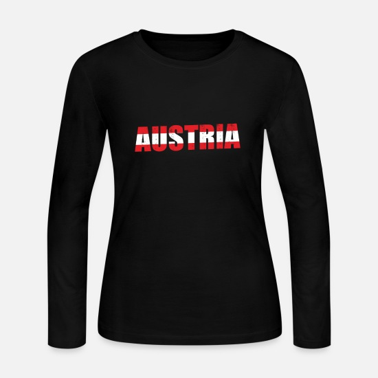 Kangaroo Long-Sleeve Shirts - Austria gift flag map love - Women's Jersey Longsleeve Shirt black
