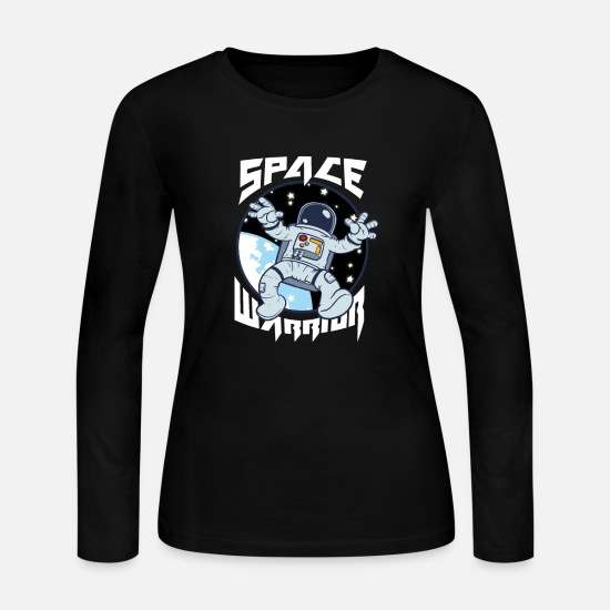 Astronaut Long-Sleeve Shirts - Astronaut Outerspace Space Warrior - Women's Jersey Longsleeve Shirt black