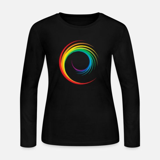 Rainbow Long-Sleeve Shirts - rainbow swirl - Women's Jersey Longsleeve Shirt black