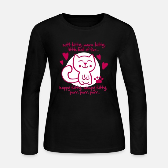 Humor Long-Sleeve Shirts - soft kitty, warm kitty, little ball of fur... - Women's Jersey Longsleeve Shirt black