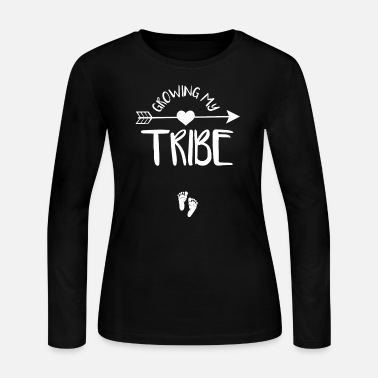 Pregnancy Announcement Pregnant - growing my tribe , cute pregnancy ann - Women's Long Sleeve Jersey T-Shirt