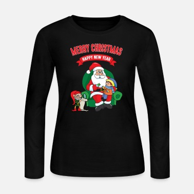 Elves Merry Christmas Xmas Funny Elf Elves Santa Claus - Women's Jersey Longsleeve Shirt