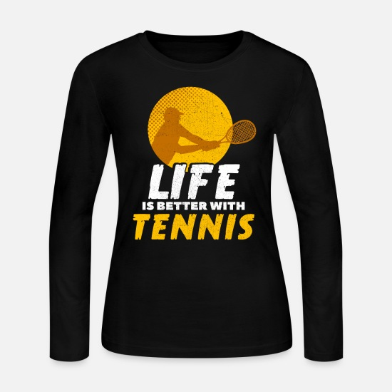 Club Long-Sleeve Shirts - tennis play tennis racket - Women's Jersey Longsleeve Shirt black