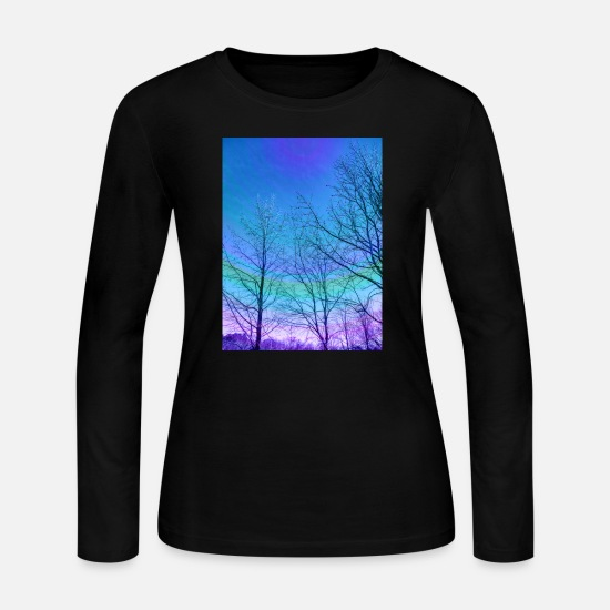 Sky Long-Sleeve Shirts - Trees high in a colorful sky - Women's Jersey Longsleeve Shirt black