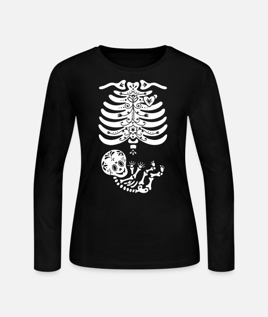 Pregnant Long-Sleeved Shirts - Sugar Skull Maternity Skeleton Skelly Baby - Women's Jersey Longsleeve Shirt black