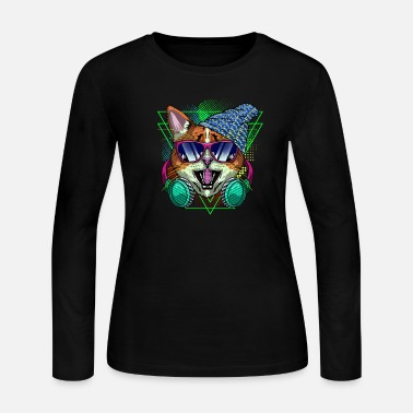 Funny Cat with Headphones Music - Women's Jersey Longsleeve Shirt