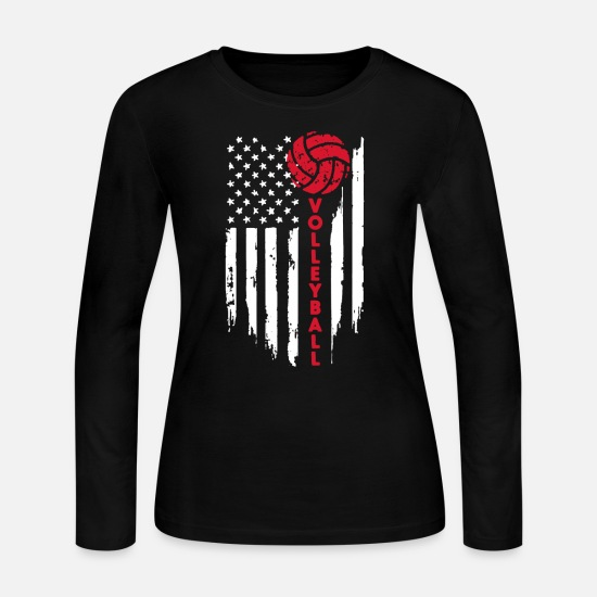 Volleyball Long-Sleeve Shirts - Volleyball Flag Shirt - Women's Jersey Longsleeve Shirt black