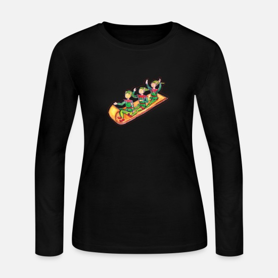 Gingerbread Long-Sleeve Shirts - Elves on toboggan in gouache - Women's Jersey Longsleeve Shirt black