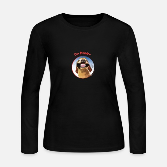 Song Long-Sleeve Shirts - Grinning Dog: I'm funnier - Women's Jersey Longsleeve Shirt black