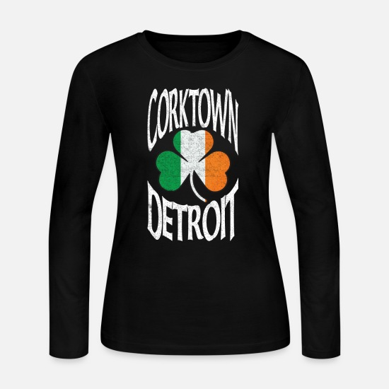 Irish Long-Sleeve Shirts - Corktown Detroit Irish Shamrock Clothing Apparel - Women's Jersey Longsleeve Shirt black