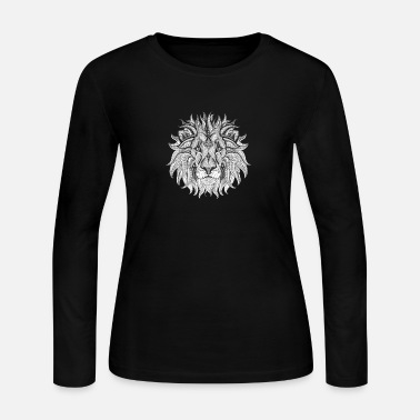 Ethnic Tribal Lion BW - Women's Jersey Longsleeve Shirt