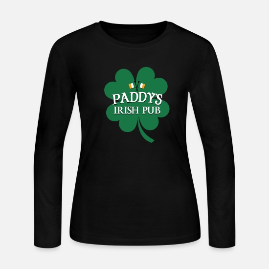 Green Long-Sleeve Shirts - Paddy's Irish Pug - Women's Jersey Longsleeve Shirt black