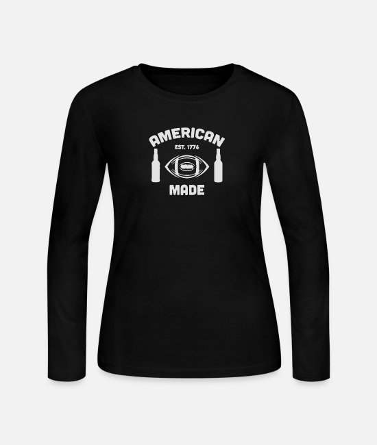 Love With Heart Long-Sleeved Shirts - American pride as well as your love of football - Women's Jersey Longsleeve Shirt black