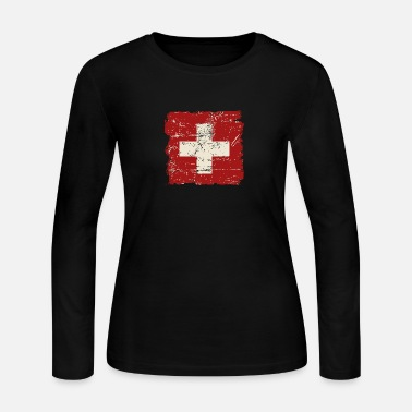 Switzerland Swiss Flag - Vintage Look - Women's Jersey Longsleeve Shirt