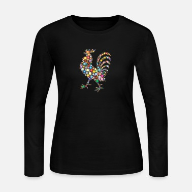 Chicken Lovers Colorful Rooster - Women's Jersey Longsleeve Shirt