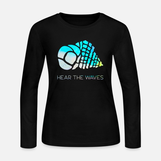 Gift Idea Long-Sleeve Shirts - Hear the waves - Women's Jersey Longsleeve Shirt black